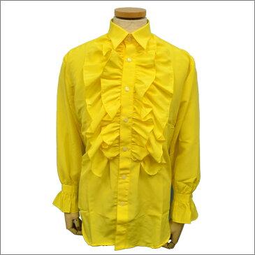 【メンズ フリルシャツ】長袖シャツ パーティー ステージ ダンス フリル ブラウス 黄色 イエロー【あす楽対応】 【 メンズファッション 通販 】