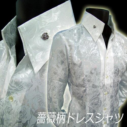 バラ柄シャツ 花柄シャツ ドレスシャツ 白ホワイト 長袖メンズシャ...
