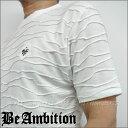 半袖Tシャツ クルーネック Tシャツ フクレボーダージャガード ユリ紋章/スタッズ ロゴ刺繍 白ホワイト【Be Ambition ビーアンビション】ちょいワル かっこいい 20代 30代 40代 50代 バイカー ロック系 あす楽 メンズ ブランド