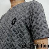 半袖Tシャツ Vネック 大人のTシャツ・ [フクレ飛び柄ジャガード] [ ユリ紋章/メタルスタッズ ・ロゴ刺繍 ] グレー【Be Ambition ビーアンビション】 バイカー ミリタリー ロック系 メンズ おしゃれ ブランド
