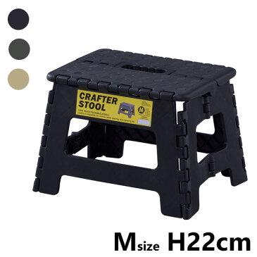 折りたたみ 踏み台 Mサイズ 幅32 奥行25 高さ22cm ポリプロピレン製 ブラック/グリーン