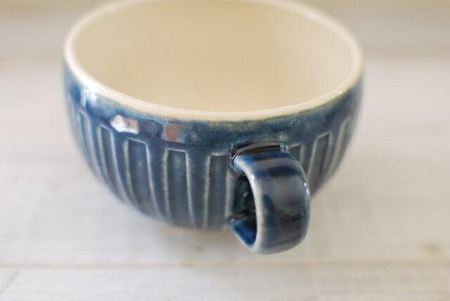 土物しのぎ ほっこり スープカップ インディゴブルー 取っ手付スープカップ スープボウル 朝ごはん スープの器