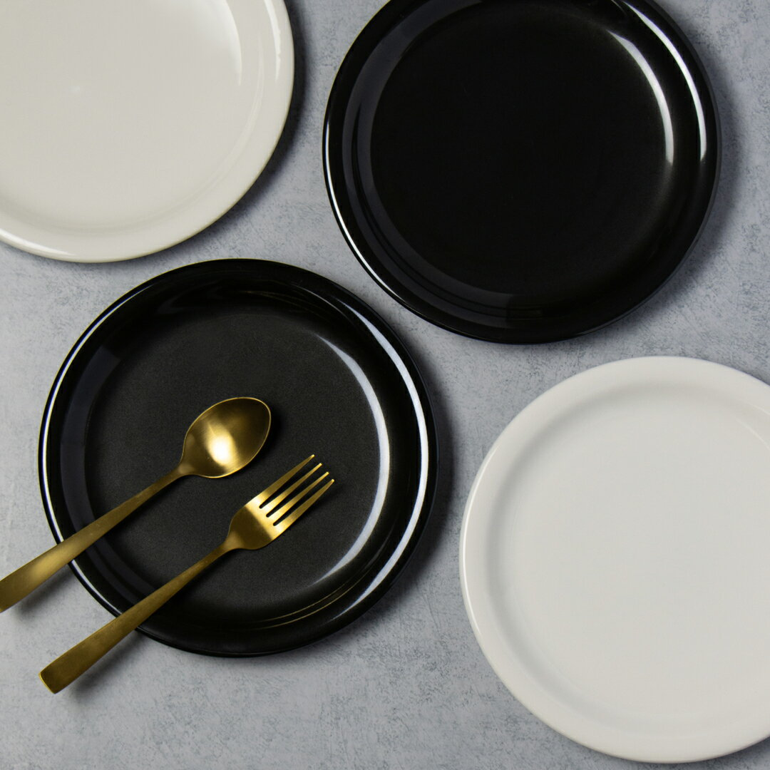 平皿 丸皿 21cm 7寸 プレート パスタ皿 黒 ブラック 白ホワイト 有田焼 軽い パスタ サラダ カレー おしゃれ リム 丸 おしゃれ シンプル 業務用 食器 軽量