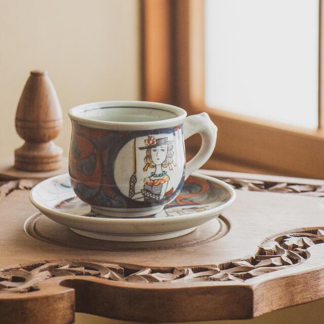 有田焼 コーヒーカップ カップ&ソーサー マグカップ 和柄 貴婦人 円左ェ門 手書き おしゃれ かっこいい 高級 カフェ 可愛い かわいい プレゼント ギフト 贈り物 上司 手土産 内祝い 贈答 和風 日本