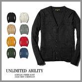 新商品!【UNLIMITEDABILITY】アンリミテッドアビリティ-長袖ジャガードカーディガン