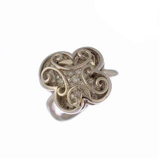 【スーパーSALE】リングK18ホワイトゴールドダイヤモンドクローバーK18WG指輪サイズ:11.5号ジュエリーレディース【】【送料無料】【美品】