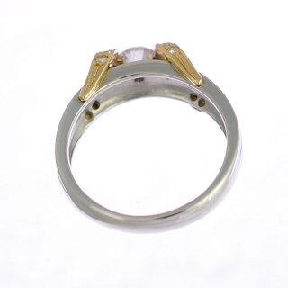 【スーパーSALE】プラチナ900K18イエローゴールドリングダイヤモンドレディース9号コンビカラー【美品】【】【送料無料】