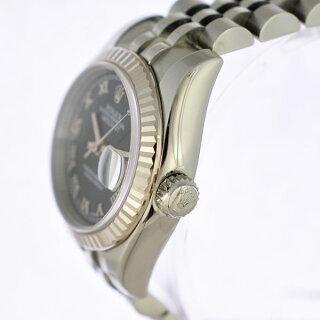 ロレックスレディース腕時計デイトジャスト179174ROLEX文字盤ネイビー自動巻きWG×SS【】【送料無料】