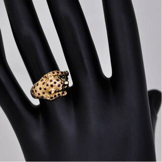 リングK18イエローゴールドルビーダイヤモンドチーターアニマル指輪K18YGサイズ:11.5号ジュエリーレディース【】【送料無料】