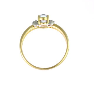 K18イエローゴールドプラチナ900リングアクアマリンダイヤモンド11.5号【】【送料無料】