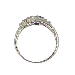 リングプラチナ900サファイアダイヤモンドオーバルカット3連風Pt900指輪サイズ:13号ジュエリーレディース【】【送料無料】【美品】