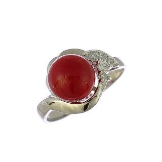 リングプラチナ900サンゴダイヤモンド一粒デザイン花Pt900指輪サイズ:12号ジュエリー【】【送料無料】【美品】