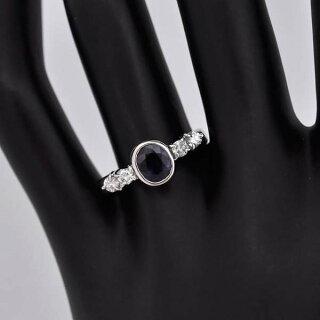 リングプラチナ900サファイアダイヤモンドオーバルカットPt900指輪サイズ:18号ジュエリー【】【送料無料】【美品】