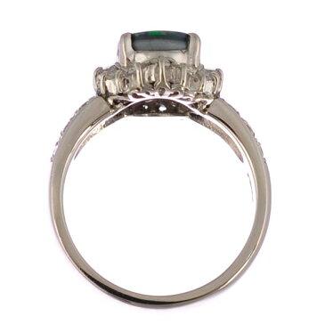 【キャッシュレス5%還元】【中古】リング プラチナ900 ブラックオパール ダイヤモンド フラワー 指輪 Pt900 サイズ:9.5号 ジュエリー [送料無料][美品]