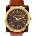 マイケルコースレディース腕時計ケンプトンMK-2484MichaelKors文字盤黒クオーツブラウンSSレザー【中古】【送料無料】【美品】