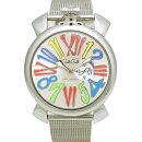 ガガミラノメンズ腕時計マヌアーレ465080GaGaMILANOMANUALEクォーツSSシルバー文字盤【中古】【送料無料】