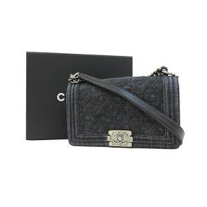 [Used] Chanel Chain Shoulder Bag Boy Chanel Denim Black CHANEL [Free Shipping]