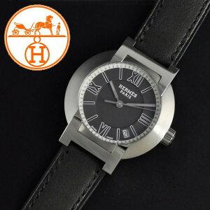 ◆HERMES エルメス◆ノマード レディース腕時計 NO1.210.330/VBN 黒文字盤 レザーベルト ...