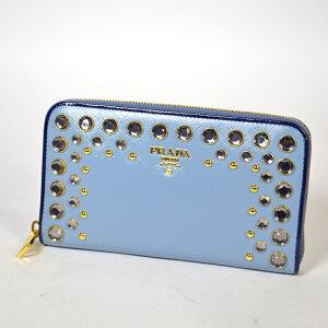[中古][送料無料][ブランド]クリスタルビジューとスタッズがラグジュアリーなプラダの長財布で...