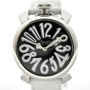 [使用] Gaga Milano Manuare 40毫米QZ中性手表石英不锈钢x皮革黑色表盘5020.4 GAGAMILANO [免费送货]