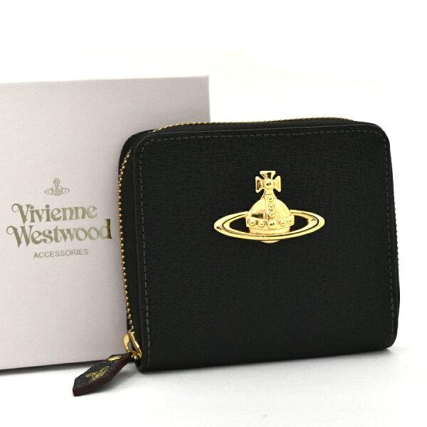 【中古】ヴィヴィアンウエストウッド 二つ折り財布 レディース レザー ブラック×ゴールド金具 ラウンドファスナー 3318C9J1 VivienneWestwood [送料無料][美品]