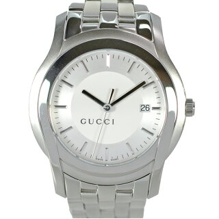 GUCCIグッチメンズ腕時計5500XLクオーツSS文字盤シルバー箱付き【】【送料無料】