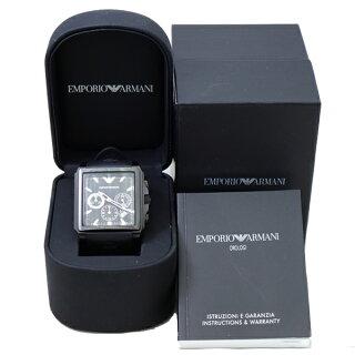 エンポリオアルマーニ腕時計メンズAR0658EMPORIOARMANI黒文字盤クォーツSS×ラバー【中古】【送料無料】