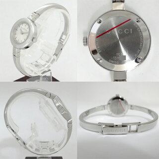 GUCCIグッチGサークルシルバー文字盤レディース腕時計バングルウォッチYA105546【中古】【送料無料】