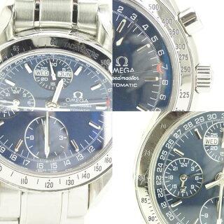 オメガメンズ腕時計スピードマスターデイデイト3523.80OMEGASS自動巻きブルー文字盤【中古】【送料無料】