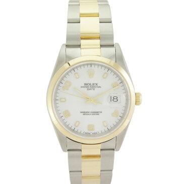 【中古】 ロレックス オイスターパーペチュアル デイト メンズ腕時計 15203 U番 SS×YG 自動巻き ホワイト文字盤 ROLEX [送料無料]【美品】