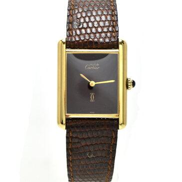 【中古】カルティエ ヴェルメイユ レディース 腕時計 手巻き SV925×革ベルト ボルドー文字盤 Cartier[送料無料]
