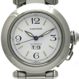 CartierカルティエパシャCビッグデイトSS男女兼用腕時計W31044M7自動巻きホワイト文字盤[中古][送料無料]