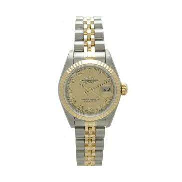 ロレックス レディース腕時計 デイトジャスト 79173 Y番 ROLEX SS×K18 自動巻き シャンパンゴールド文字盤 ローマ【中古】【送料無料】