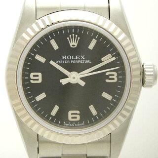 ロレックスレディース腕時計オイスターパーペチュアル76094F番SS×WGブラック文字盤【中古】【送料無料】