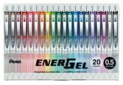 ぺんてる数量限定エナージェル発売20周年企画20色セットBLN75Z-20【0.5mm】ゲルインキボールペンノック式エナージェルすぐ乾く書きやすい限定ペンスタンド付きぺんてる