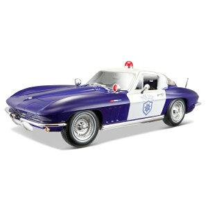 1965 Chevrolet Corvette POLICE C2 Blue 1/18 MAISTO 6389円 【ミニカー,シボレー,コルベット,アメ車,ブラック,マイスト アメリカンポリス 警察 パトカー,マッスルカー】【コンビニ受取対応商品】