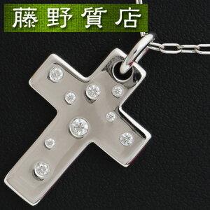 【送料無料】【新品仕上げ済】 ティファニー TIFFANY クロスネックレス 十字架 K18WG ホワイトゴールド×ダイヤモンド9石 9084