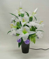 盆提灯花飾り造花『ラージルミナス百合LED1個高さ60cm』