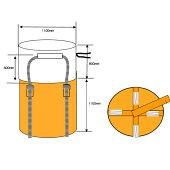 フレキシブルコンテナバッグAタイプ10枚入り耐荷重1t反転ありUVあり直径1100×1100mm丸型反転ベルト付き大型土のう袋土嚢袋