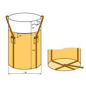 フレキシブルコンテナバッグAタイプ(10枚入り)耐荷重500kg(反転ベルトあり・UVなし)丸型直径1100×1100mm大型土のう袋トンバッグ【HLS_DU】