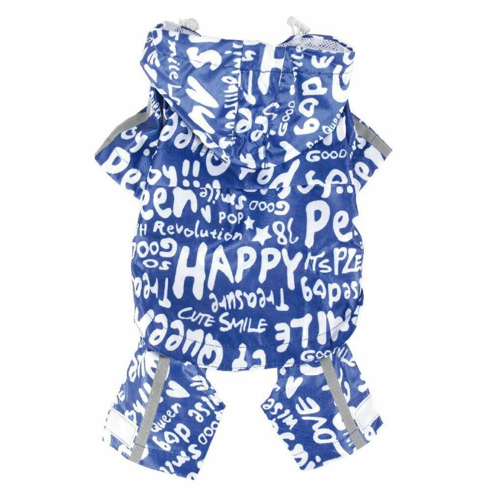 ペット・クイーン PQ総柄レインコート 撥水加工 専用袋付き ブルー 犬/おしゃれ/雨具/梅雨/撥水 4号・978872BL4