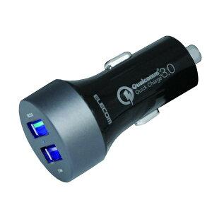 エレコム 車載充電器 シガーチャージャー USBポート×2 (QuickCharge3.0+2.4A出力) 電流自動識別 ホワイト MPA-CCUQ02BK