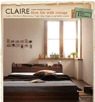 【送料無料】棚・コンセント付きフロアベッド【Claire】クレール【フレームのみ】ダブルオークホワイト