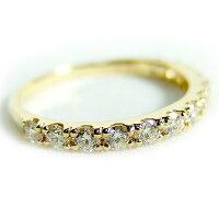【送料無料】K18イエローゴールド天然ダイヤリング指輪ダイヤ0.50ct8.5号GoodHSIハーフエタニティリング【】【10P18Jun16】