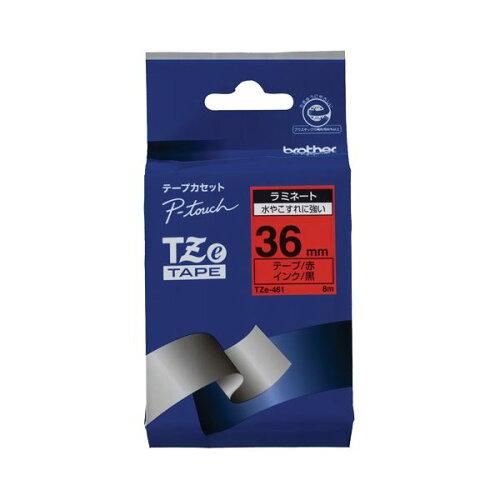(まとめ) ブラザー BROTHER ピータッチ TZeテープ ラミネートテープ 36mm 赤/黒文...