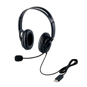 エレコム USBヘッドセットマイクロフォン 両耳オーバーヘッド 片出しケーブル 1.8m HS-HP28UBK