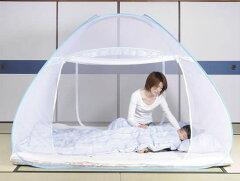 寝苦しい夜も安心!蚊よけ、虫除けにも!らくらくワンタッチ蚊帳