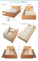 【送料無料】日本製棚・コンセント付き大容量チェストベッド〔Auxilium〕アクシリム〔国産薄型ポケットコイルマットレス付き〕シングル〔フレーム〕ダークブラウン【】