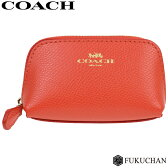 【COACH/コーチ】ミニポーチ/小物入れ オレンジ×ゴールド クロスグレインレザー F53384 【中古】
