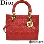 【Dior/ディオール】レディディオールカナージュ2wayハンドバッグレッド×ゴールド金具【中古】≪送料無料≫
